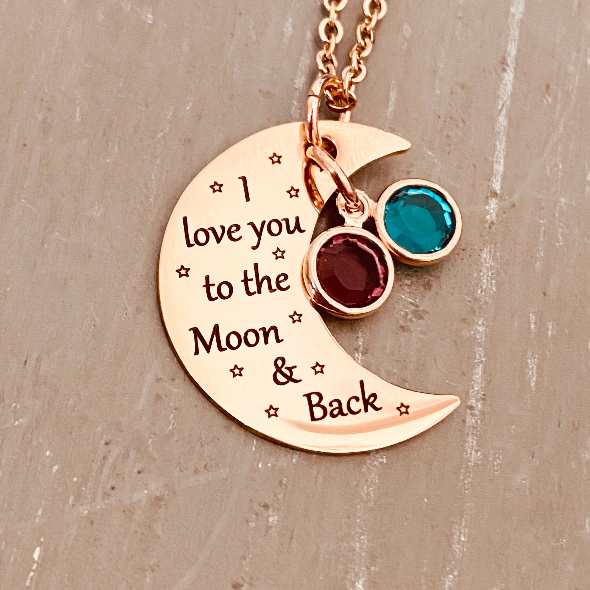 Thymeflower Custom Birthstone Necklace Personalized Engraved I Love You to The Moon and Back 925 Sterling Silver Pendant Heart Jewellery