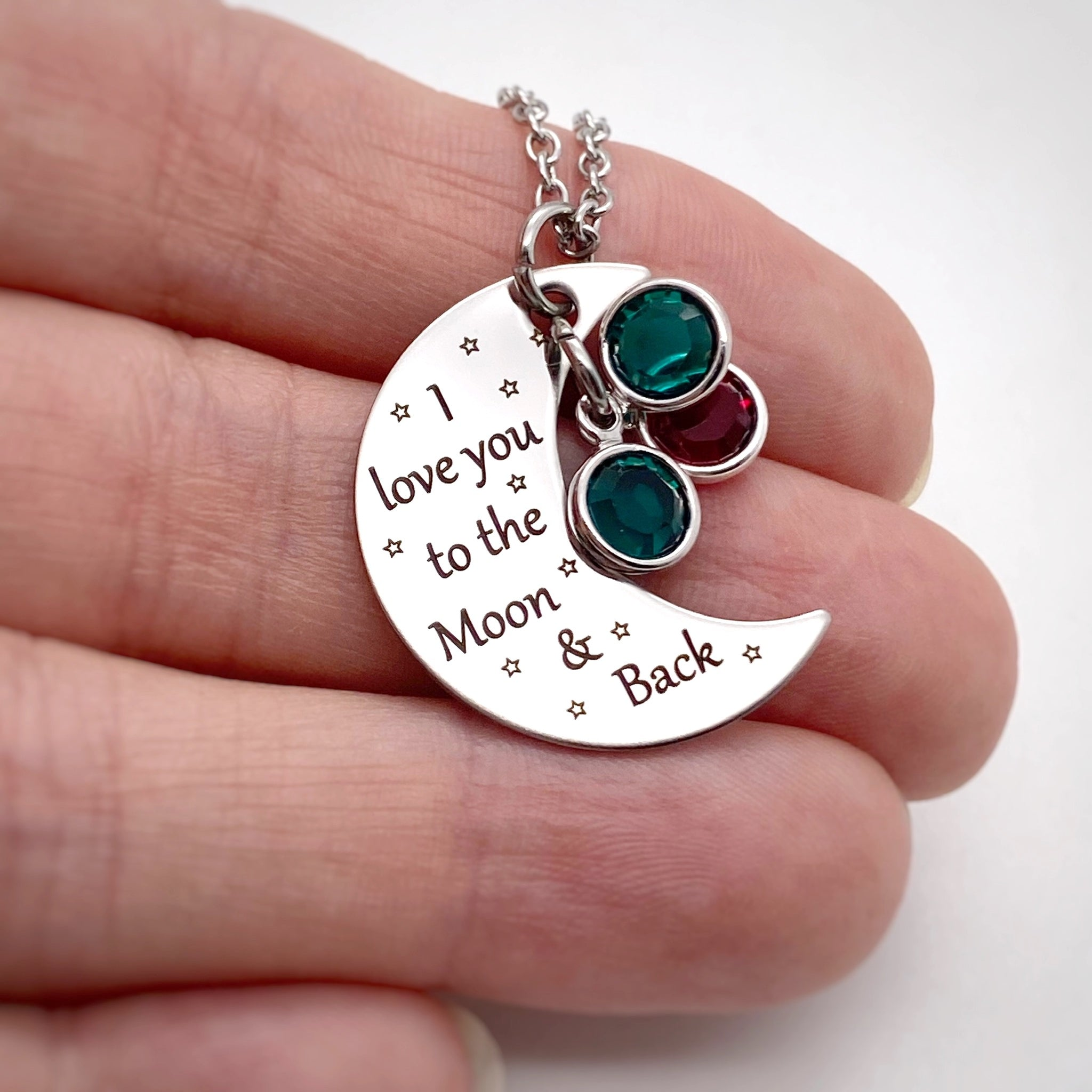 Details about  /I love you to the moon and back Bangle Bracelet Birthstone Crescent Mom Gift