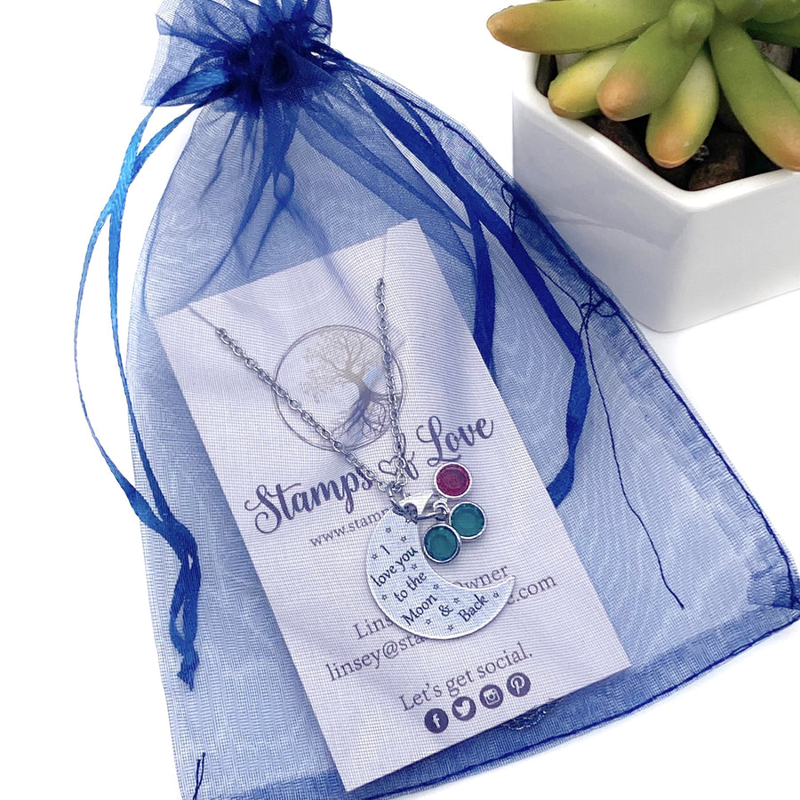 stamps of love blue organza gift bag