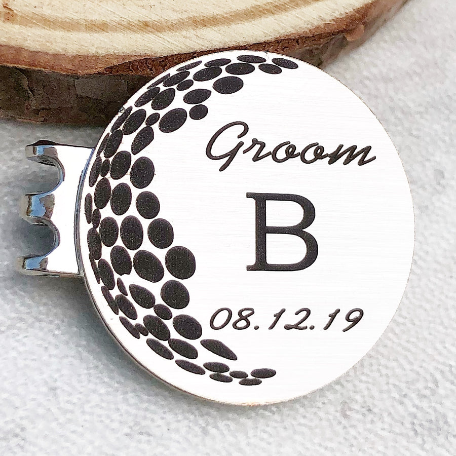 silver golf ball marker Groom B initial and date of wedding