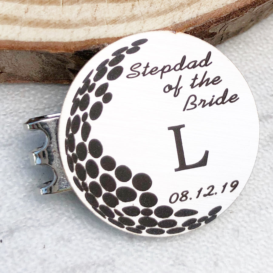 silver golf ball marker stepdad of the bride L initial and date of wedding