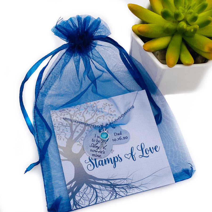 blue organza gift bag