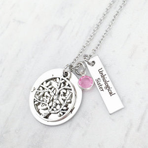 unbiological sister tree of life silver necklace with birthstone charm