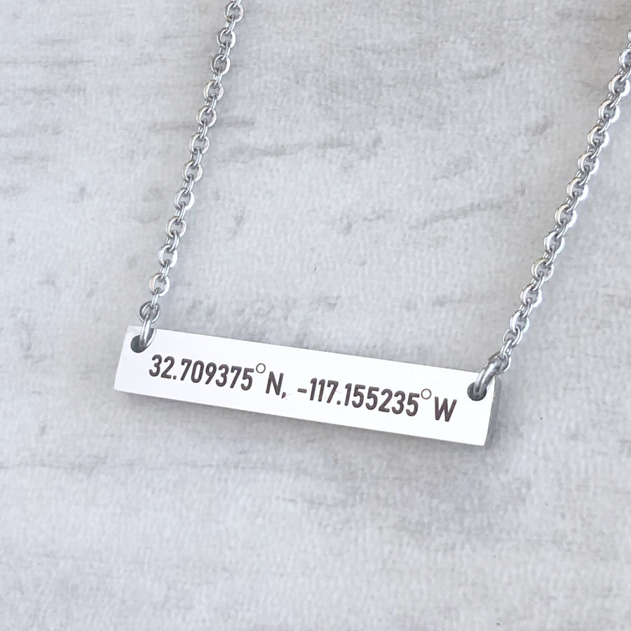 silver location coordinates bar necklace