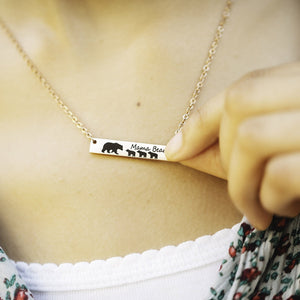 Rose gold horizontial bar necklace engraved with mom bear 3 cubs and mama bear