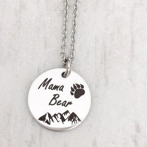mama bear necklace with engraved mountains