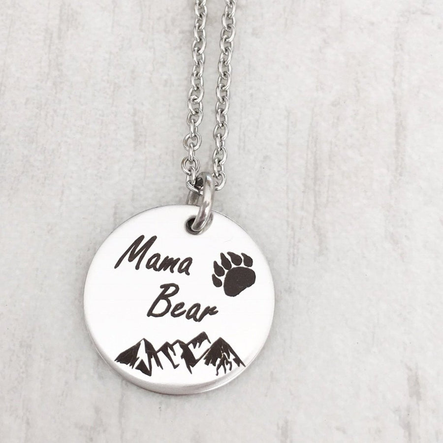 Silver Mama Bear Circle Pendant Necklace