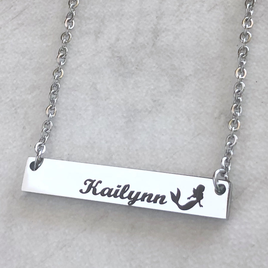 Mermaid Jewelry Name Bar Necklace