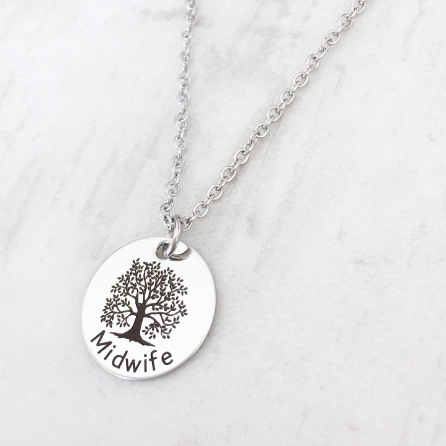 Midwife Silver toned Gift Necklace with tree of life image