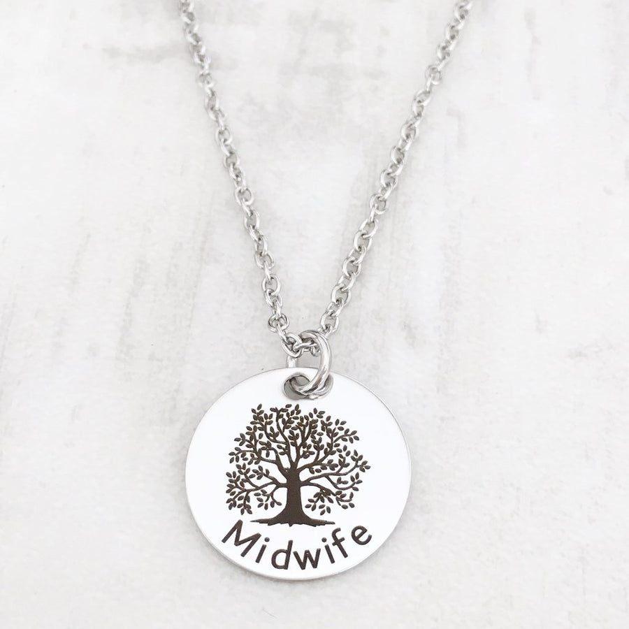 Midwife Silver toned Gift Necklace with tree of life necklace