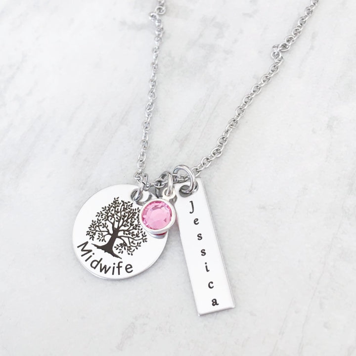 Midwife Silver toned Gift Necklace with Personalized name and birthstone