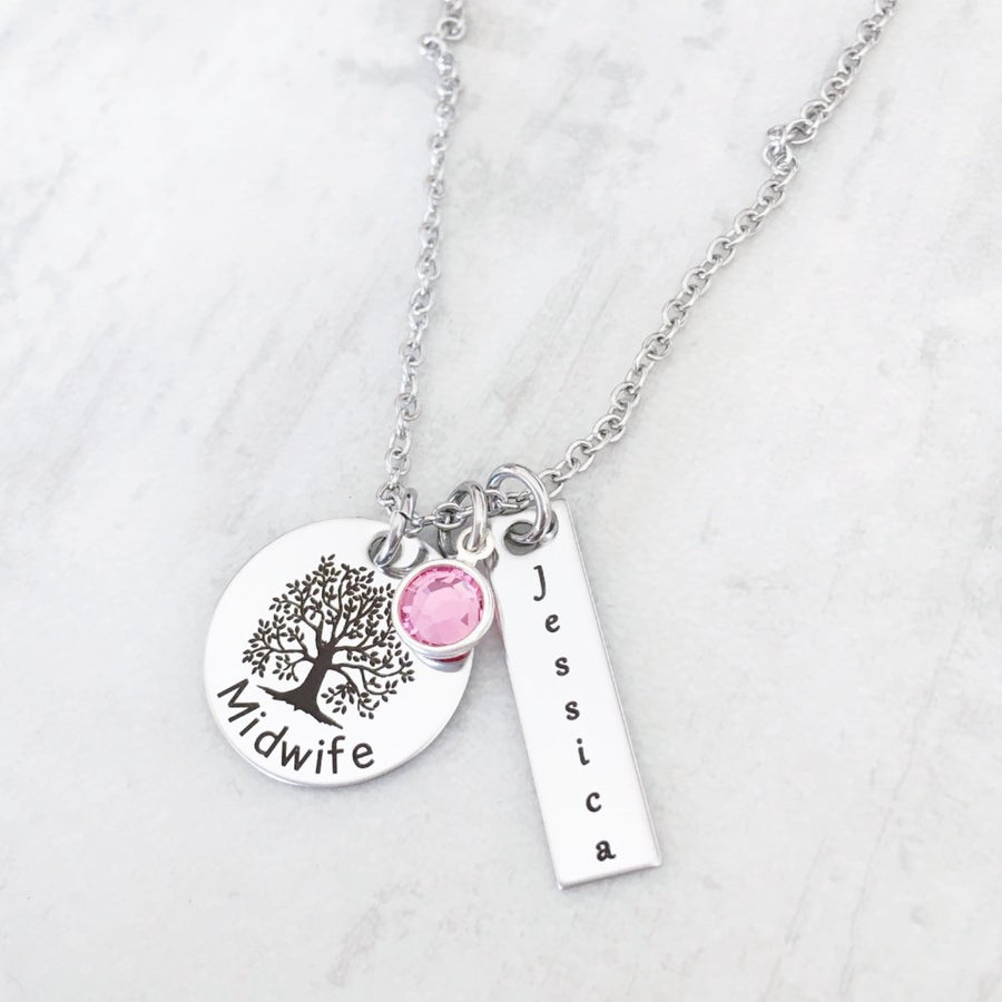Silver Tree of Life Midwife Charm Necklace