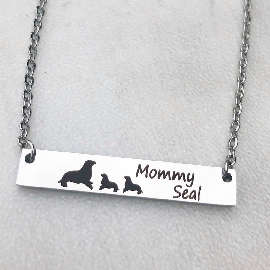 Silver Stainless Steel Bar Cable Chain Bar Necklace with engraved mom seal and baby seals