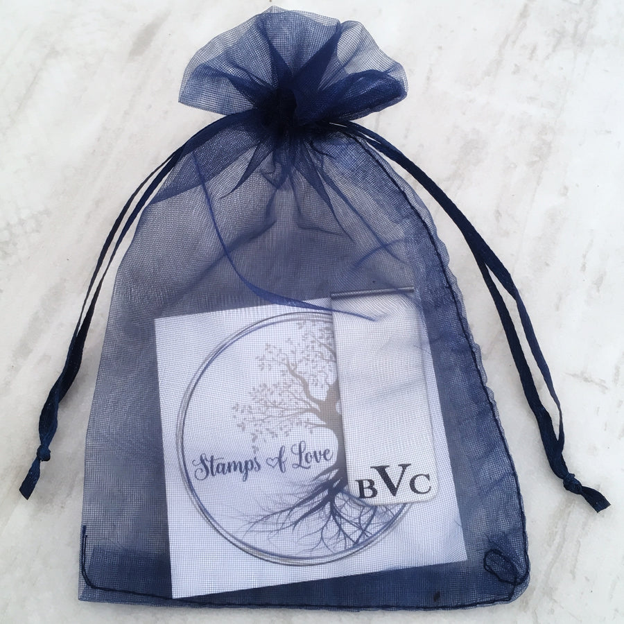 money clip packaging blue organza gift bag