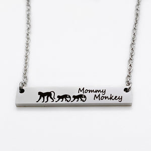 Monkey Jewelry Mother's Bar Necklace
