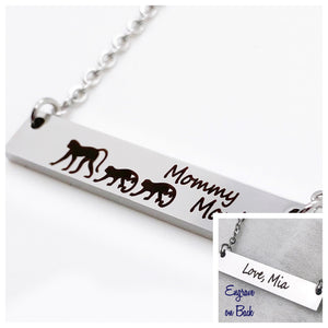 personalize the back of the mommy monkey bar necklace