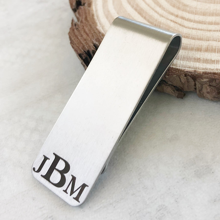 silver durable monogrammed money clip