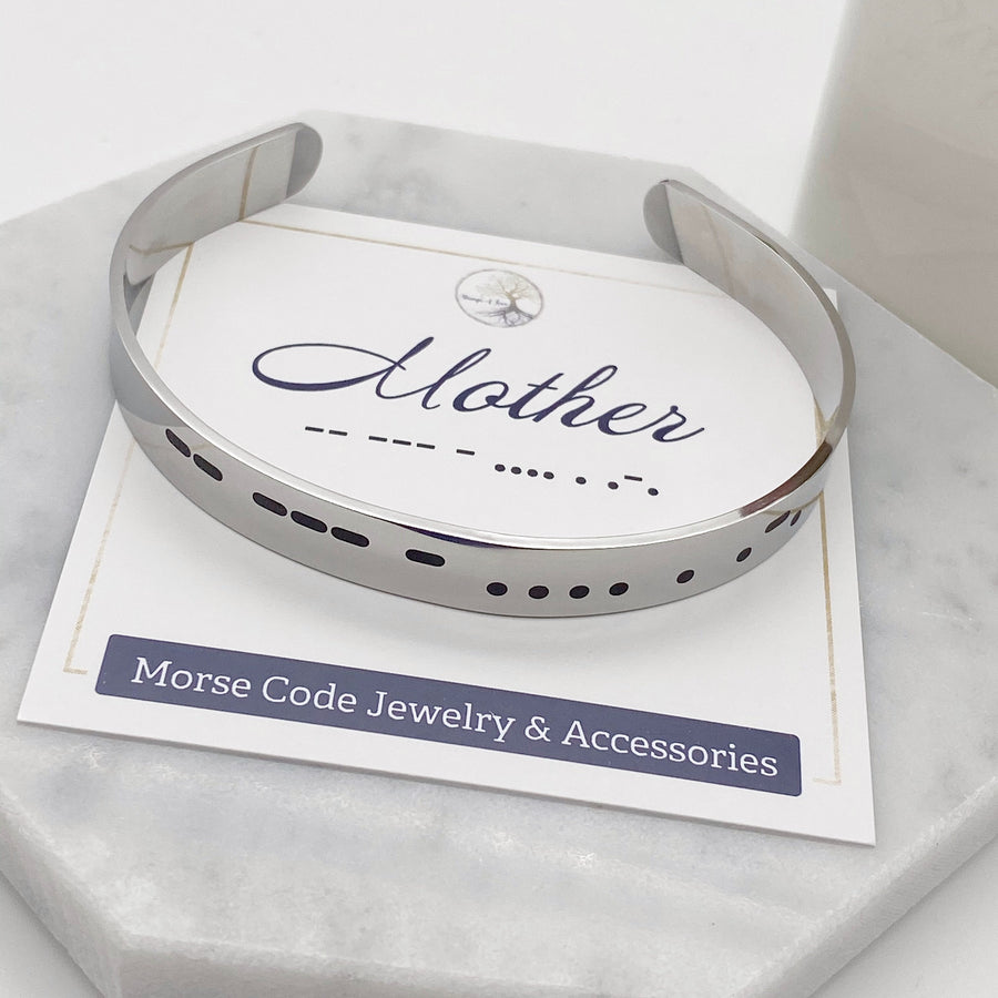 silver mother morse code cuff bracelet front view