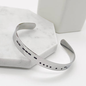 silver mother morse code cuff bracelet side view