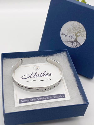 silver mother morse code cuff bracelet in gift packaging box