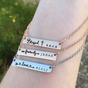 blessed, family, love bar necklace for mom