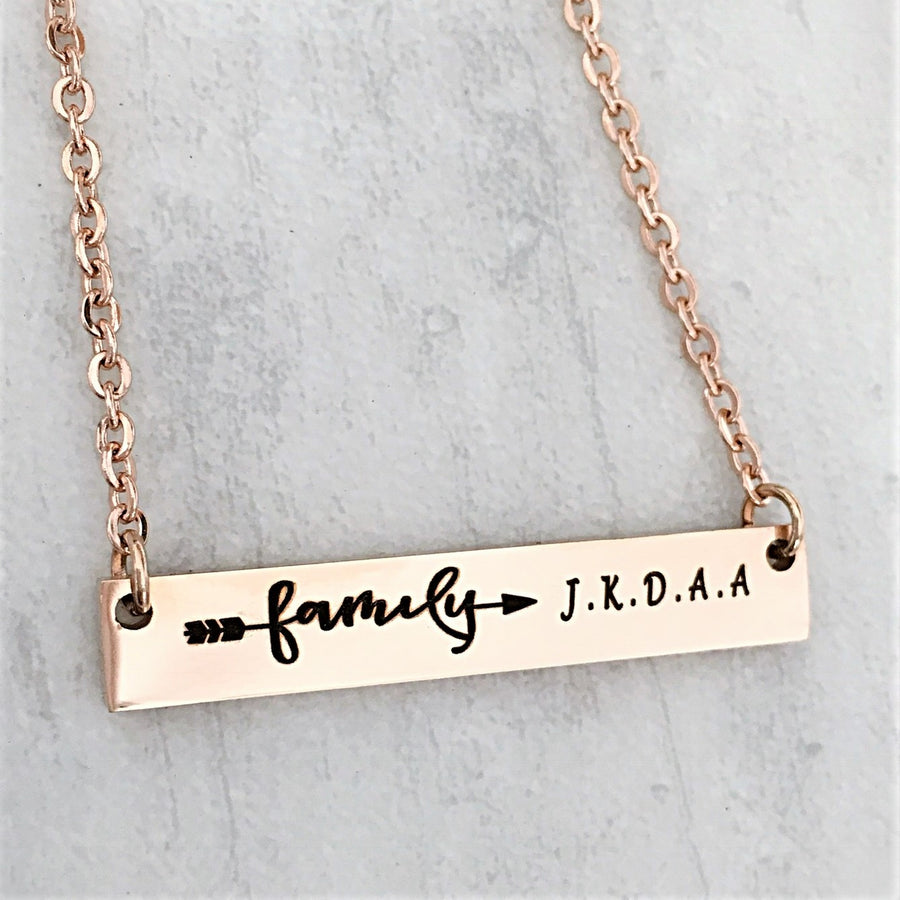 "Mother's family bar necklace with family arrow and personalized children's initials 18"" 16"" 20"" rose yellow gold silver"