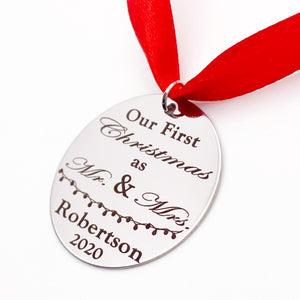 Our First Christmas Mr & Mrs Personalized Ornament