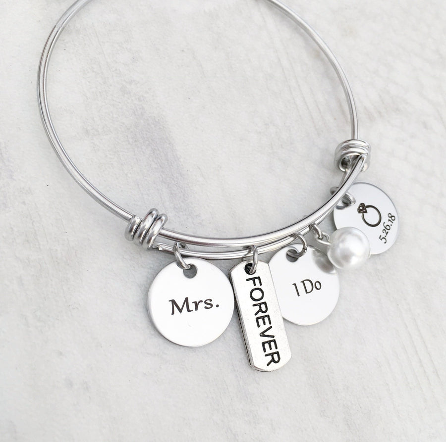 Mrs Forever I Do pearl and wedding date bangle