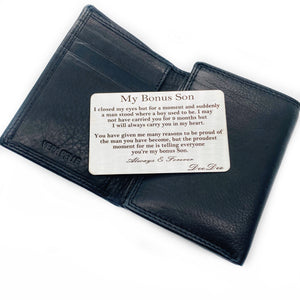 My Bonus Son Engraved Wallet Card