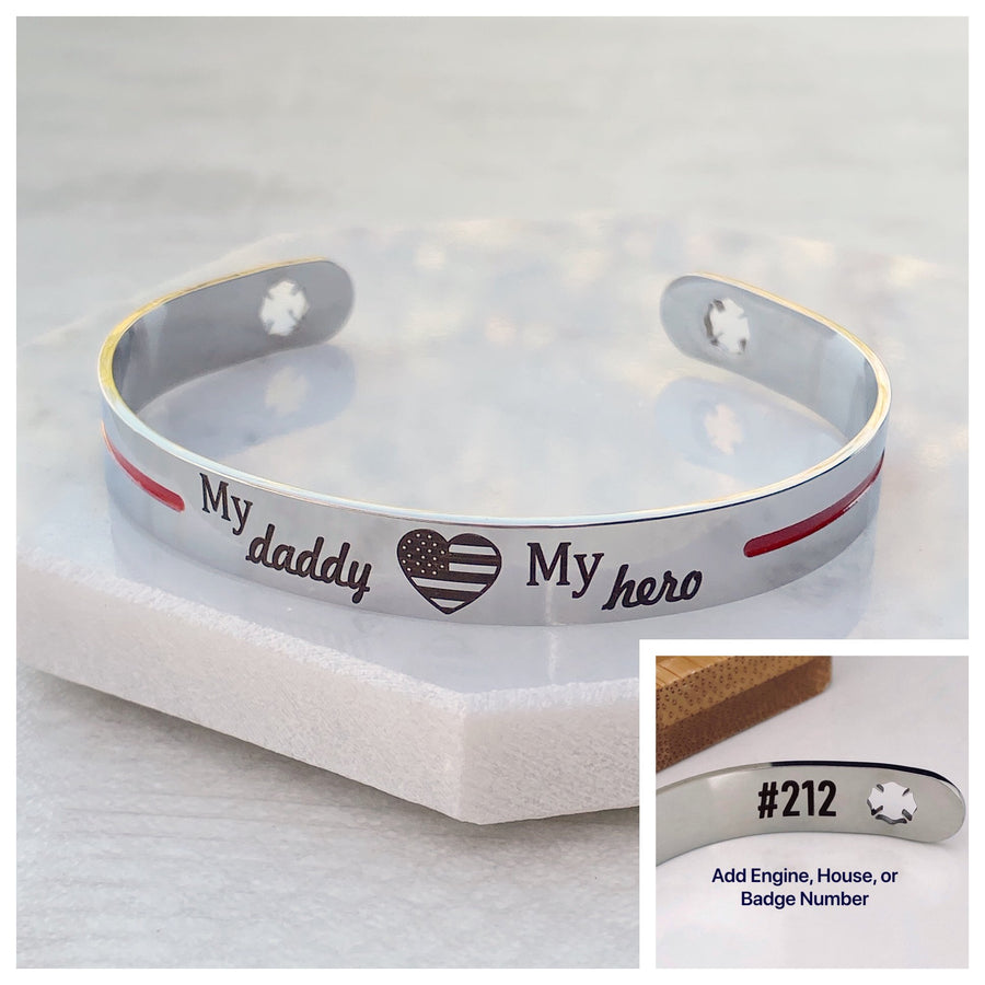 Silver stainless steel cuff bracelet thin red line with the engraving my daddy my hero with an american flag heart and maltese fireman cross cutout with number engraving