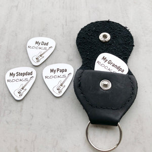 my dad, stepdad, papa, uncle, grandpa rocks silver stainless steel guitar pick