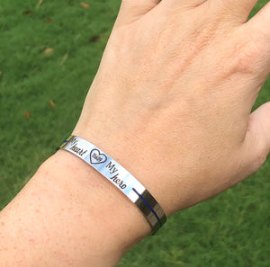 view on wrist Police thin blue line cuff bracelet with badge number engraved with my heart my hero