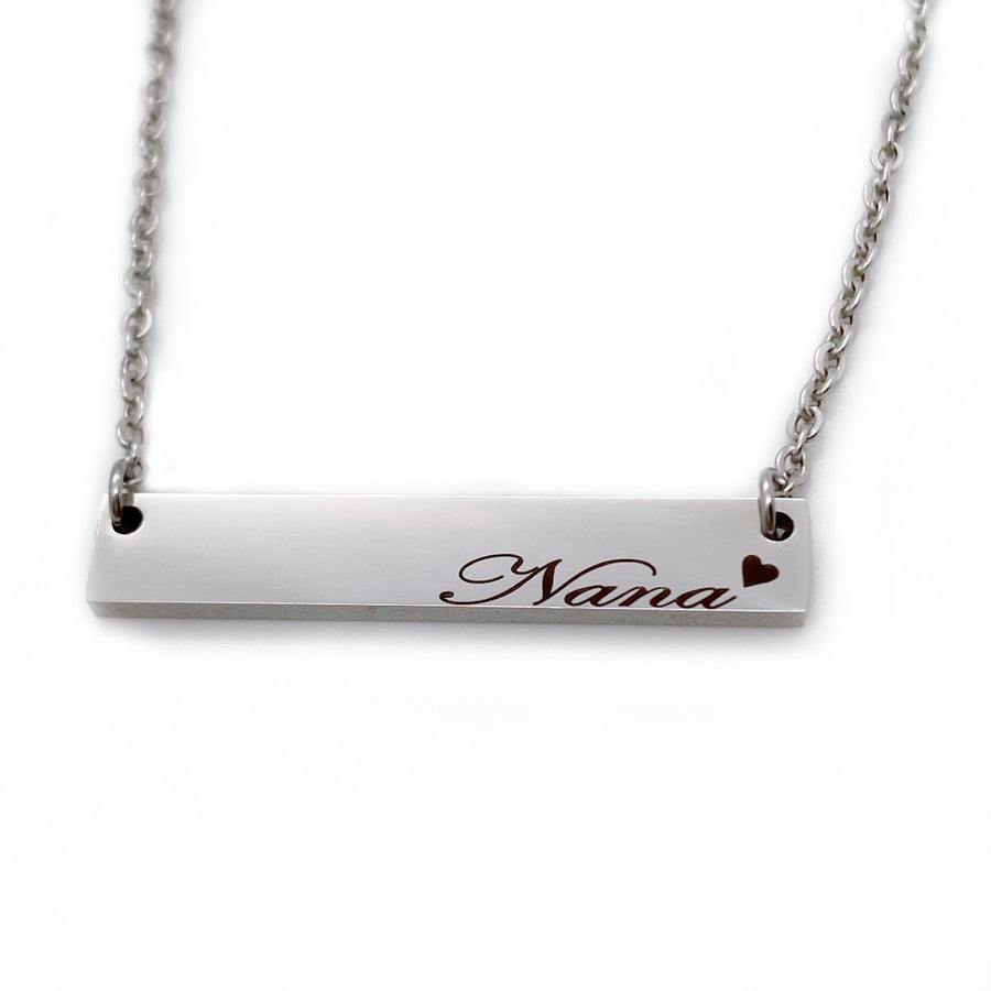 Nana Heart Horizontal Bar Necklace