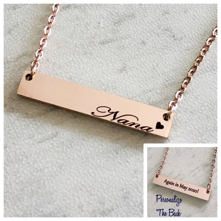 Nana rose gold horizontial bar necklace personalized