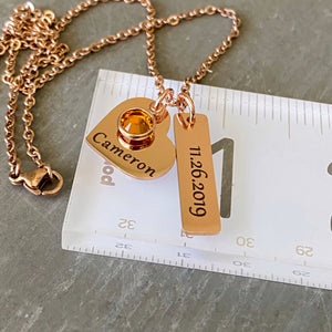 Necklace on a ruler to show size