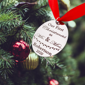 our first christmas as mr and mrs last name keepsake ornament
