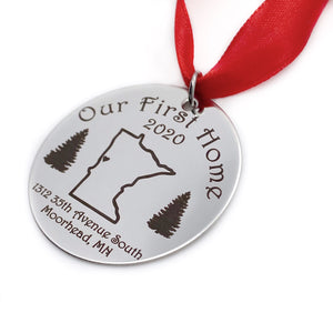 """Our First Home"" 2020 State Christmas Ornament Keepsake"