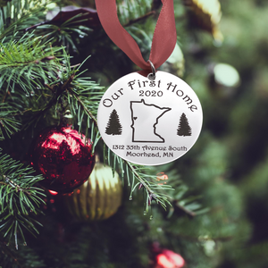 Our First Home Pine Tree Christmas ornament with state outline and address
