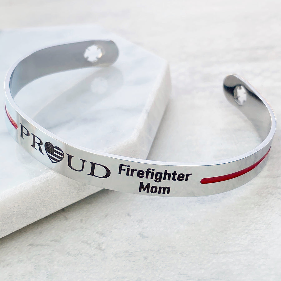 Silver stainless steel 6 inch cuff bracelet with american flag heart engraved with PROUD Firefighter Mom