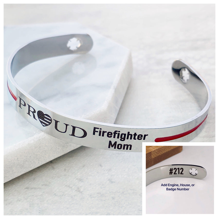 Silver stainless steel 6 inch cuff bracelet with american flag heart engraved with PROUD Firefighter Mom with house engine number on inside cuff