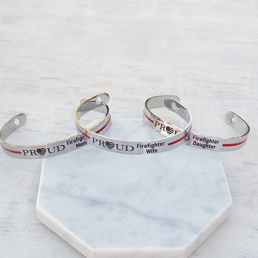 proud fire wife mom daughter american flag heart cuff bracelet