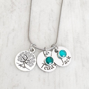 tree of life charm disc necklace with children name and stones