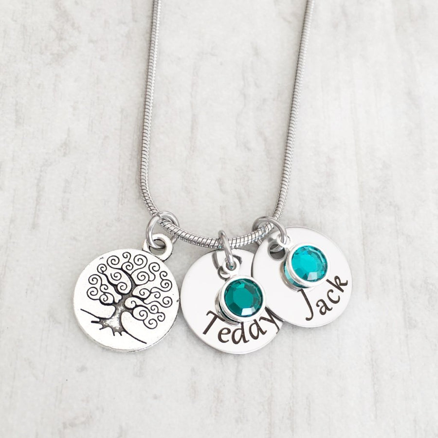 Mother's Silver Tree of Life Birthstone Charm Necklace