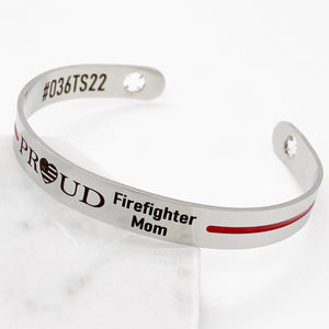 Silver stainless steel 6 inch cuff bracelet with american flag heart engraved with PROUD Firefighter Mom with badge number