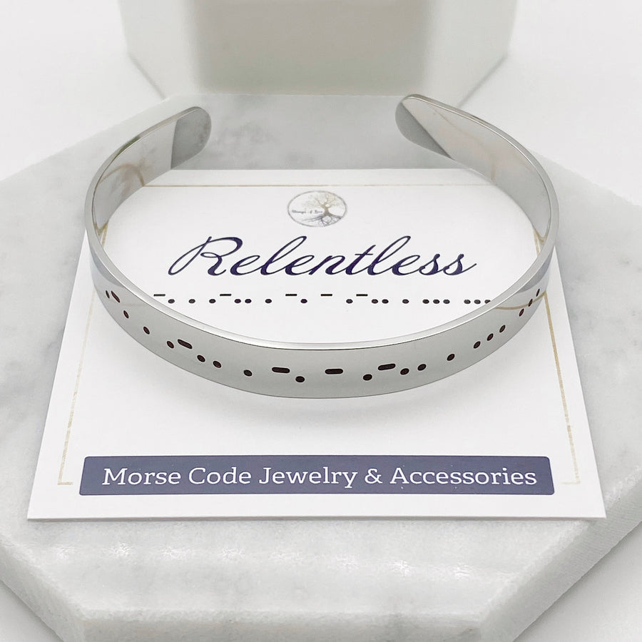 relentless silver morse code dots and dashes cuff bracelet