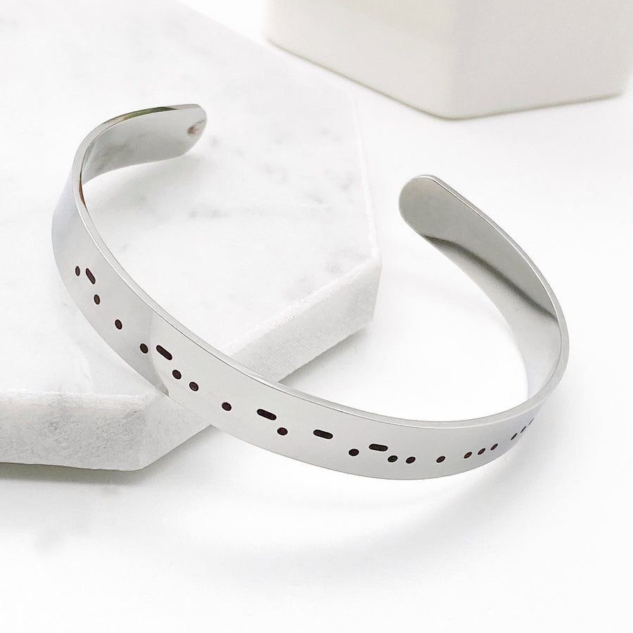 relentless morse code silver cuff bracelet side view