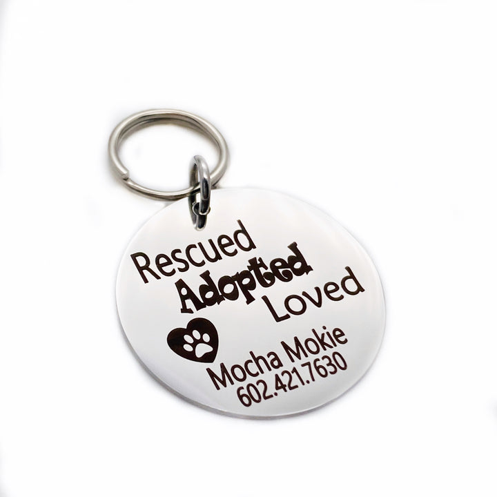 Laser Engraved Rescued adopted loved heart paw print and personalized name and phone number