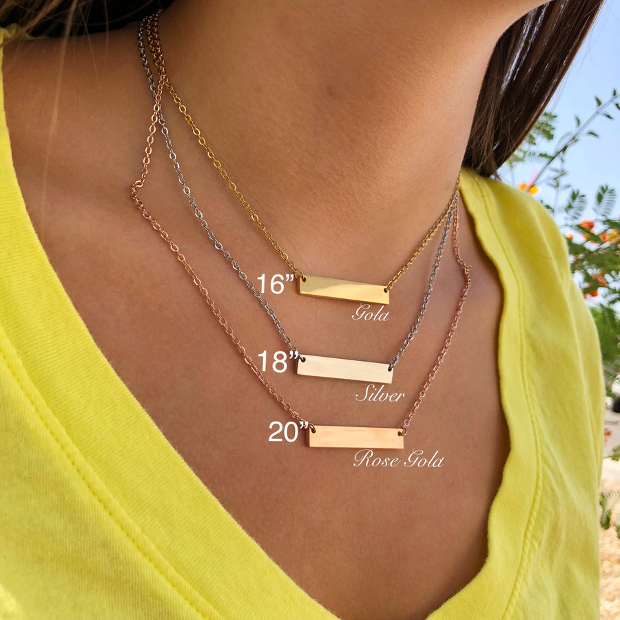 rose gold yellow gold silver bar necklace measurement