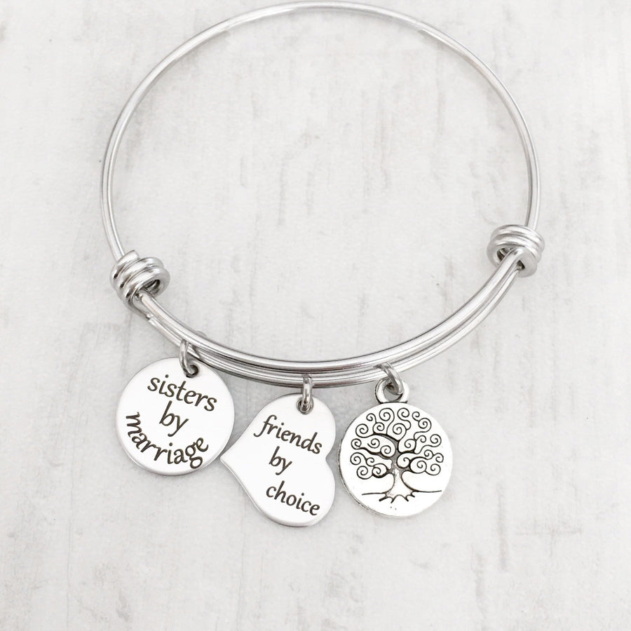 """Sisters By Marriage. Friends By Choice"" Sister-in-Law Silver Charm Bracelet"