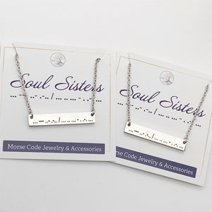 """Soul Sisters"" Morse Code Necklace"